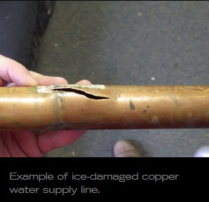 ice-damaged copper water supply line