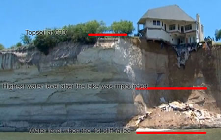 view of cliff and falling debris and water level