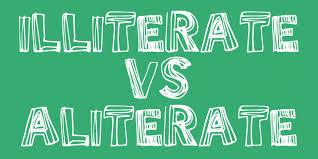 illiterate vs. aliterate graphic