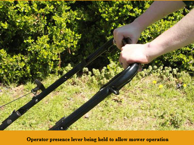 Operator presence lever being held to allow mower operation