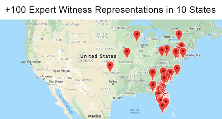 David Chase Expert Witness Cases-Map