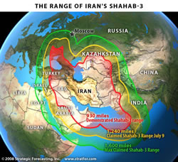 The Range of Iran's Shahab 3